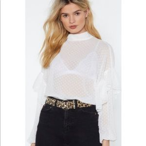 Nasty Gal High Neck On Love Ruffle Blouse